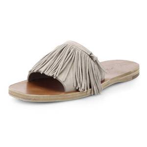A font fringed leather sandals