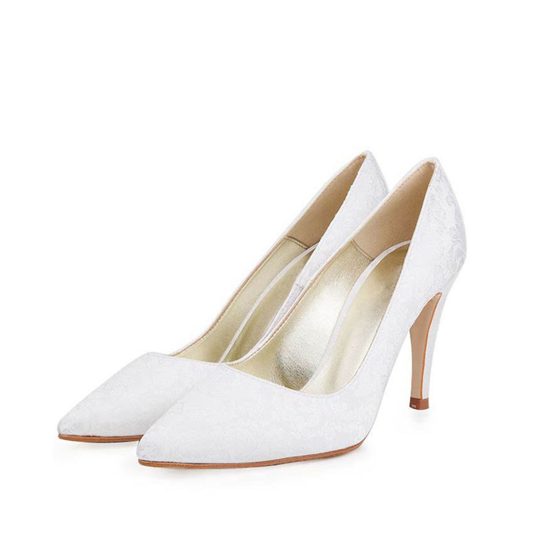 Classical style white women high heel pump dress shoes YB2044