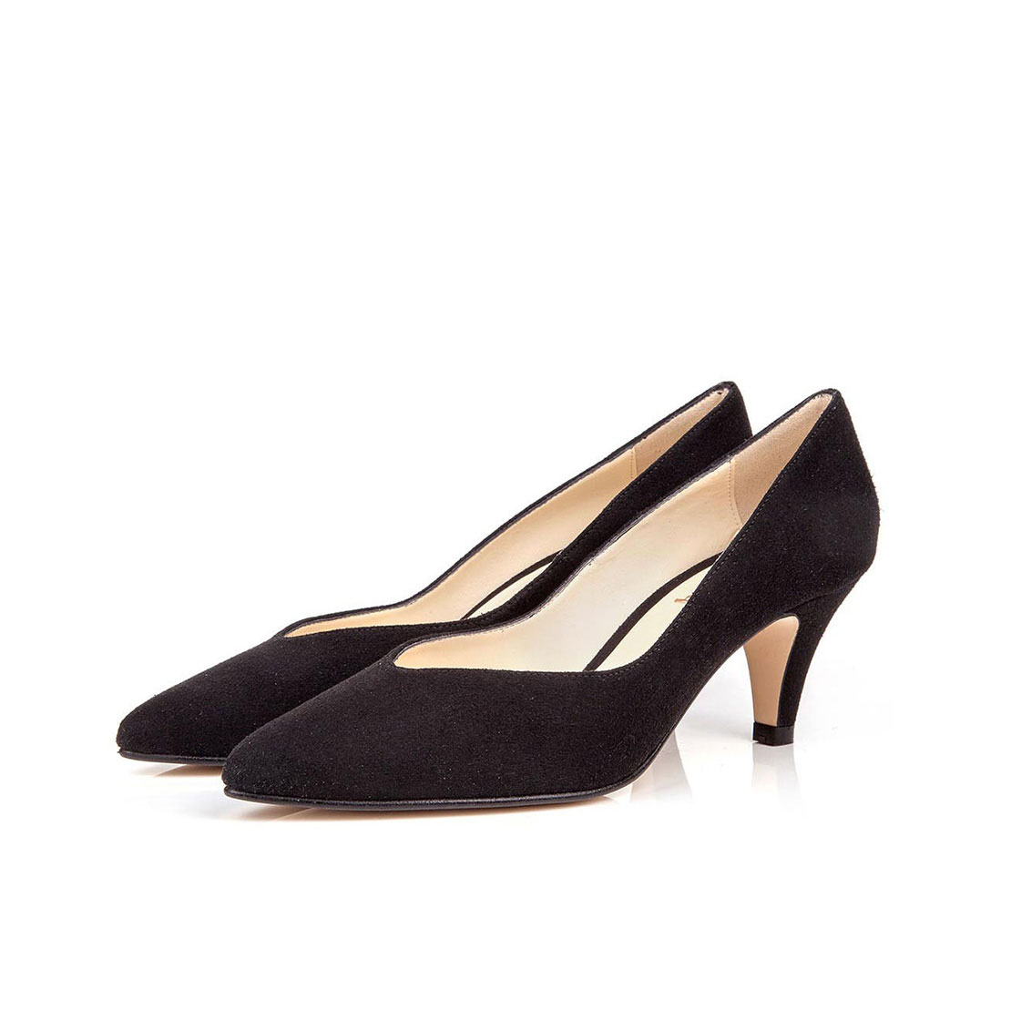Suede leather elegant style pointed toe 4cm high heels women pump shoes YB2055