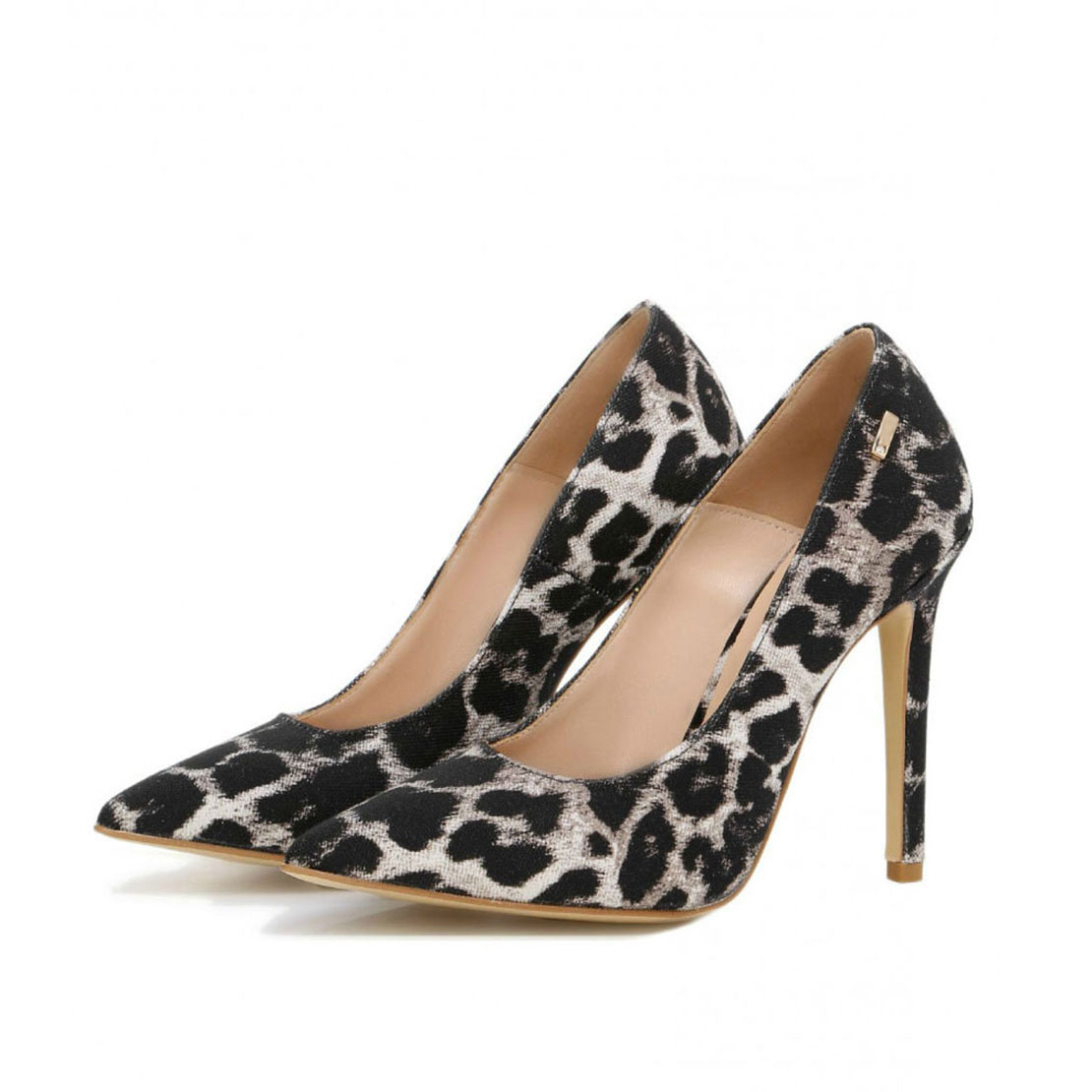 Sexy leopard design leather thin heel pointed toe women dress pump shoes YB2072