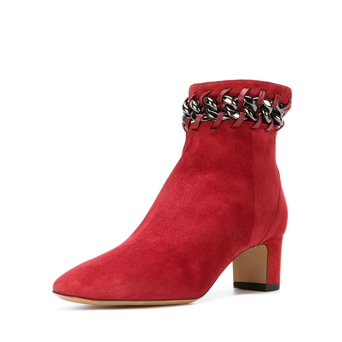 Red color metal chain decoration suede leather ladies ankle boots YB3001