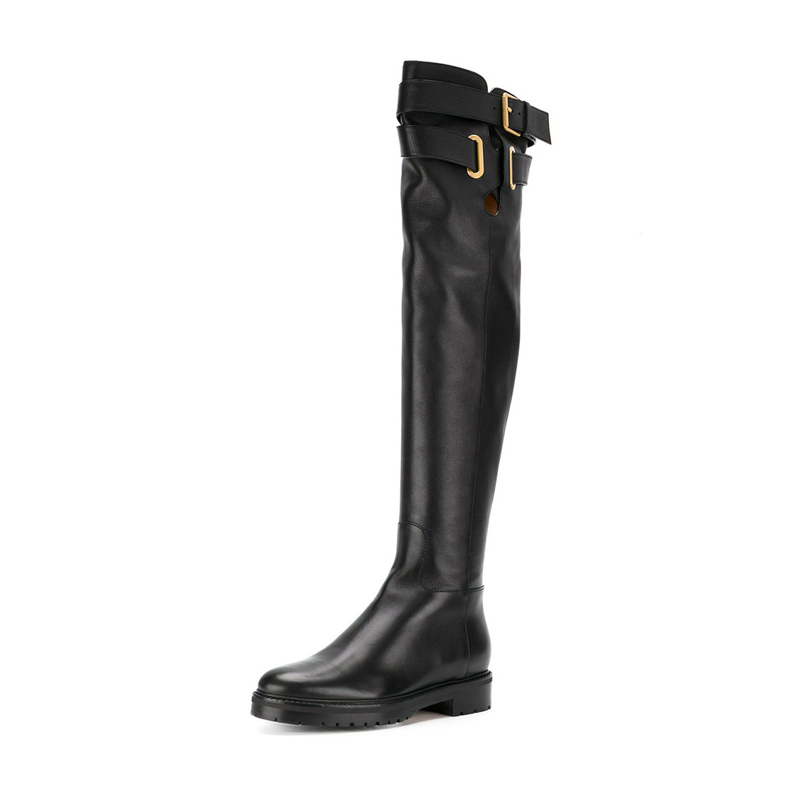 Classical style black color flat heel women knee boot shoes YB3003