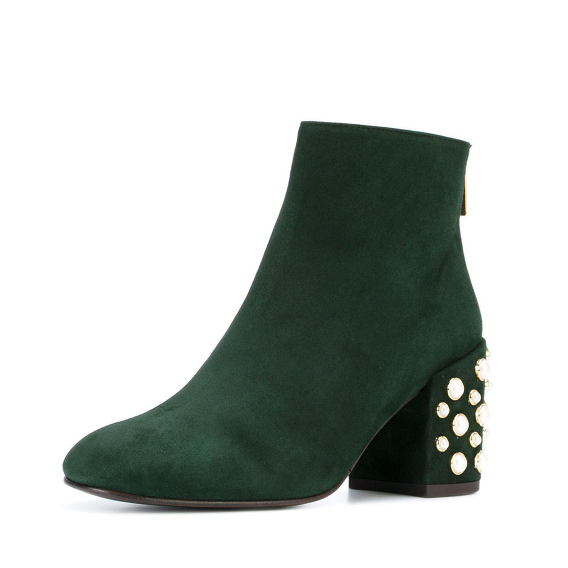 With pearls heels latest style leather women ankle boots YB3030