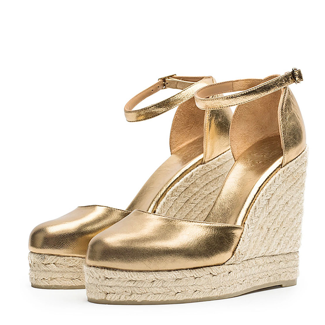 Wedge high heels gold leather women sandals YBS3026