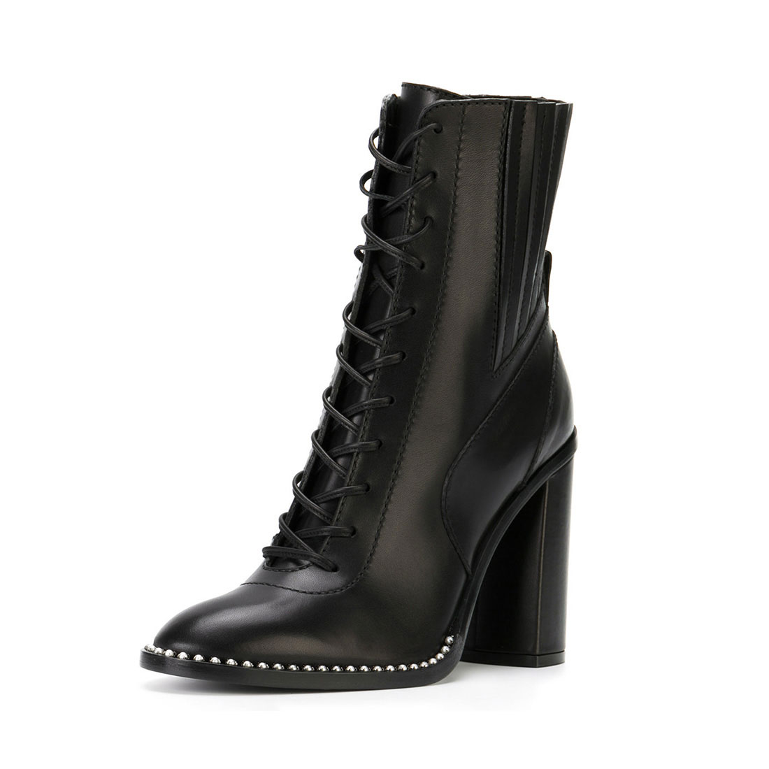 With the rivet leather round toe high heels ladies boots YB3057