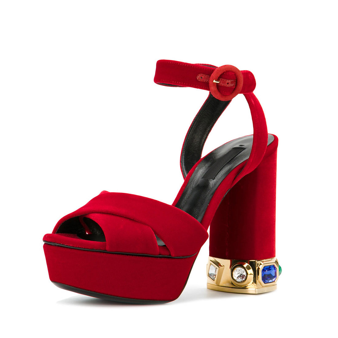Red leather with diamante platform high heel women sandals shoes YB3058