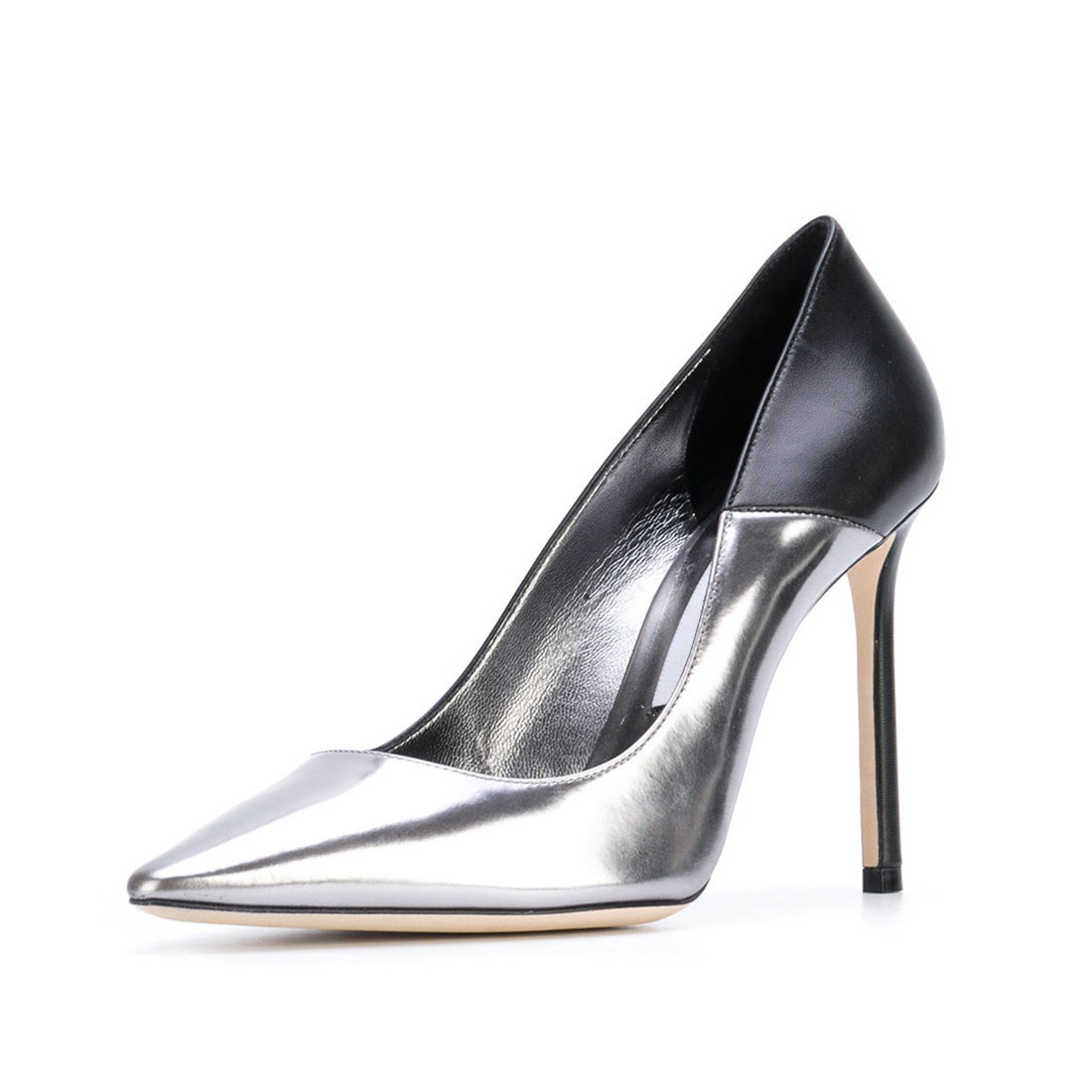 Metallic leather silver heel fashion contrast color ladies footwear YB3079