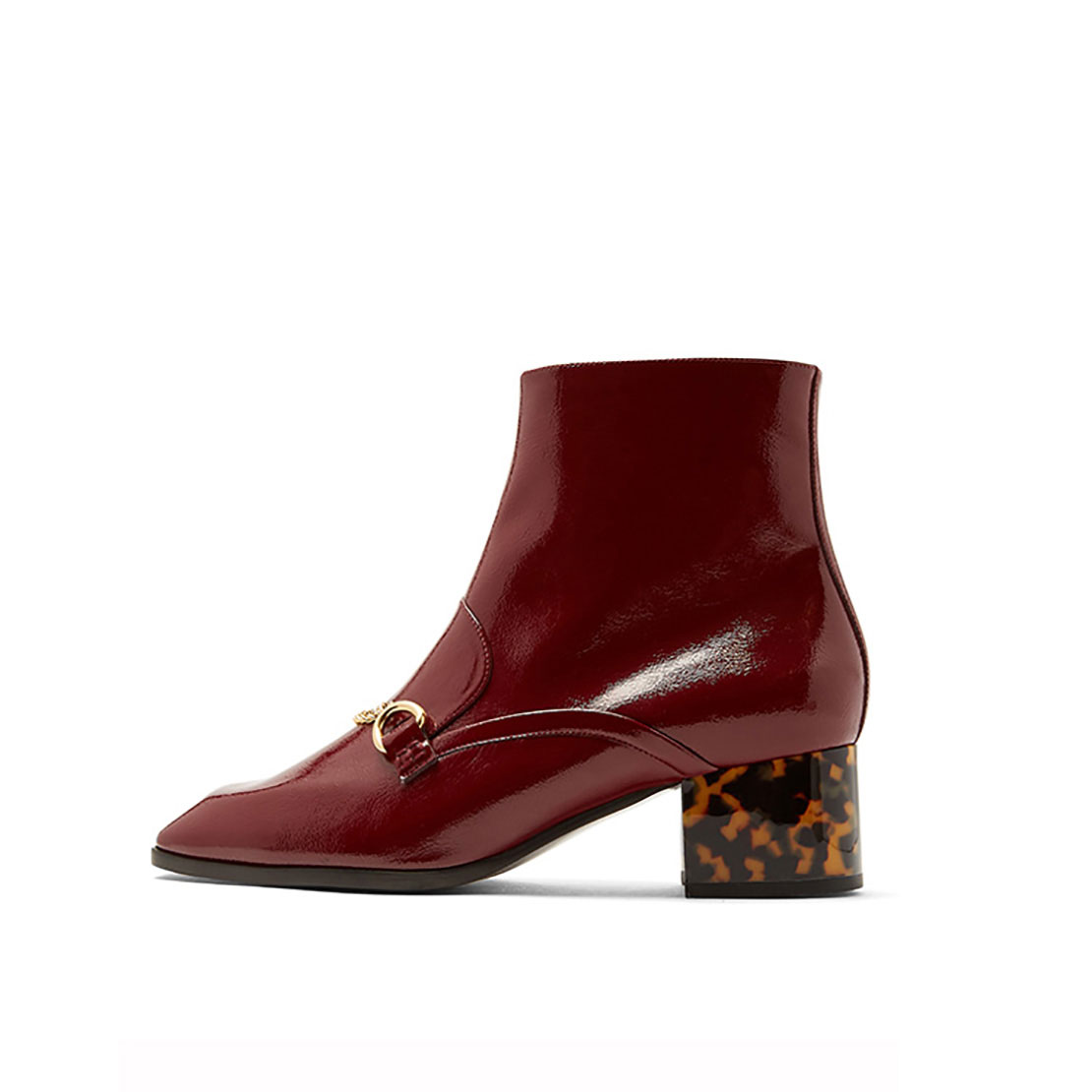 Patent leather wine red latest style metallic buckle ladies leather boot YB1013
