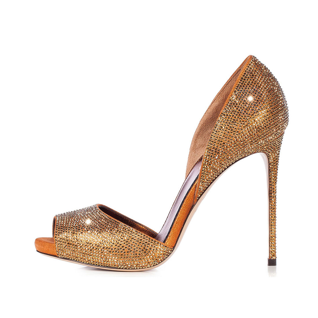 Suede leather gold high heel thin peep toe dress party diamante sandals YB3075