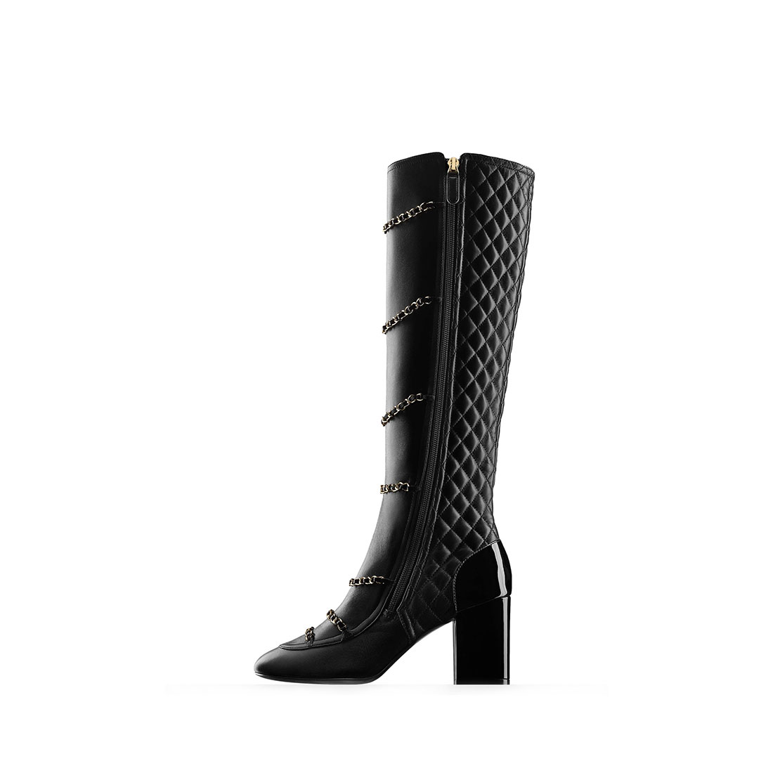 Best leather black heels elegant fashion metallic chain ladies boots YB3088