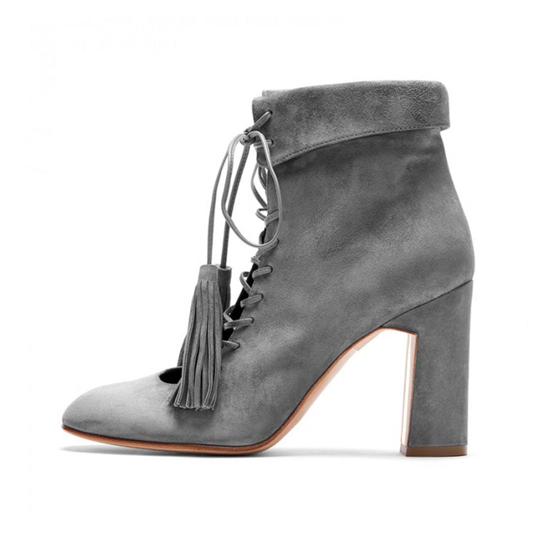 Best suede leather gray lace up strap and tassels women ankle booties YB3098