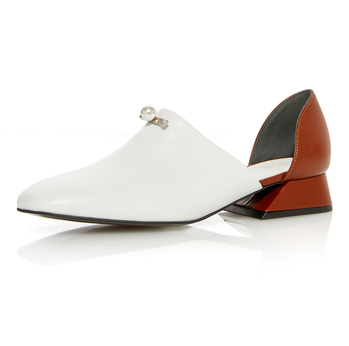 High quality leather white and red heels pearls ladies fashion footwear YB4006
