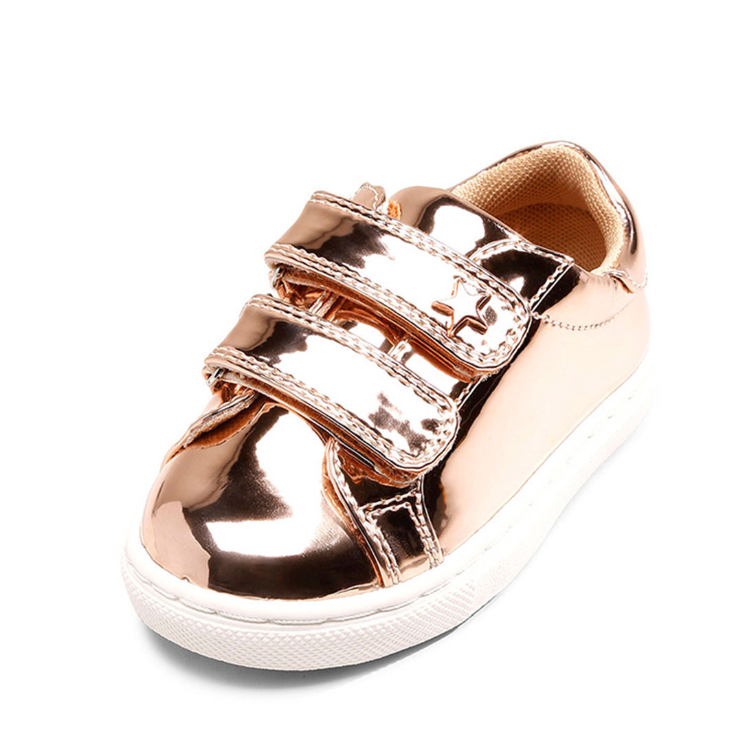 Patent leather gold color flat round toe sport little star childrens sneakers