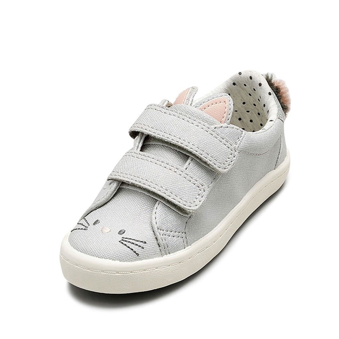Saffiano upper gray flat round toe lovely fashion little cat children footwear