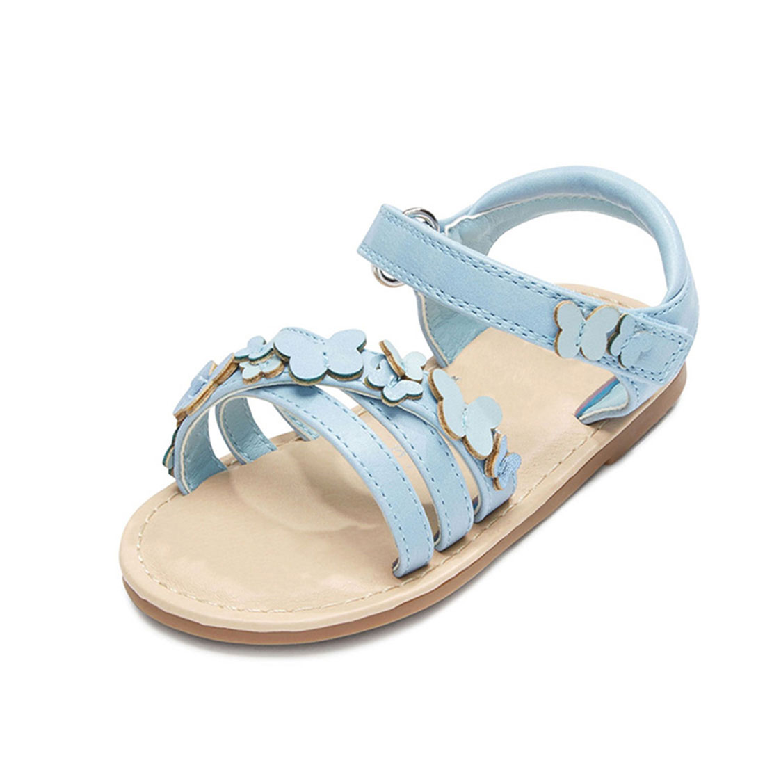 Leather light blue flat open toe fashion butterfly little girls sandals shoes