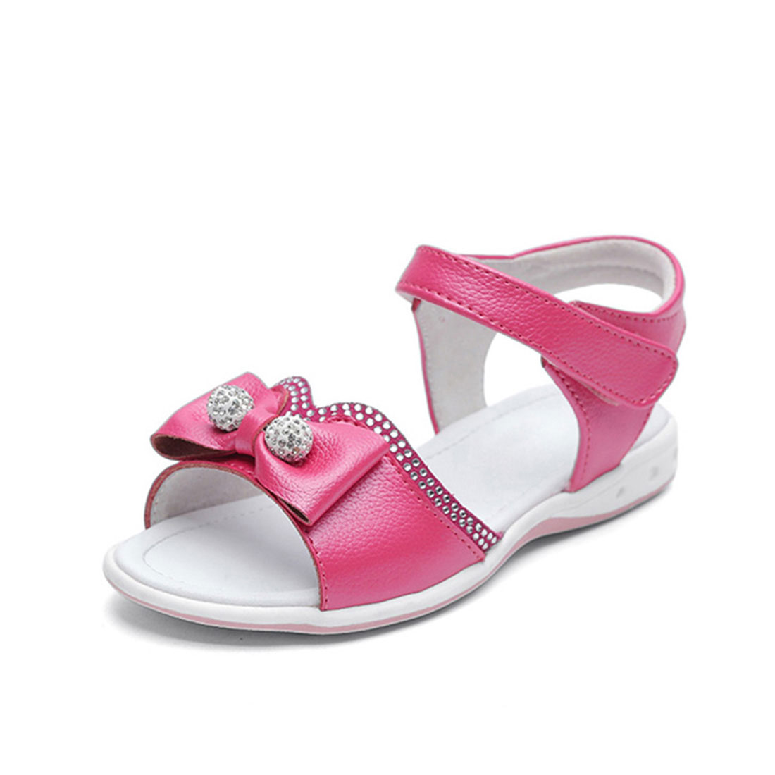 Real leather fuchsia flat fashion 2018 summer with diamante and bow kids sandals