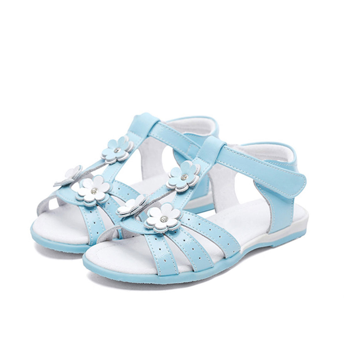 High quality leather flat open toe summer little flower girls kids sandals shoes