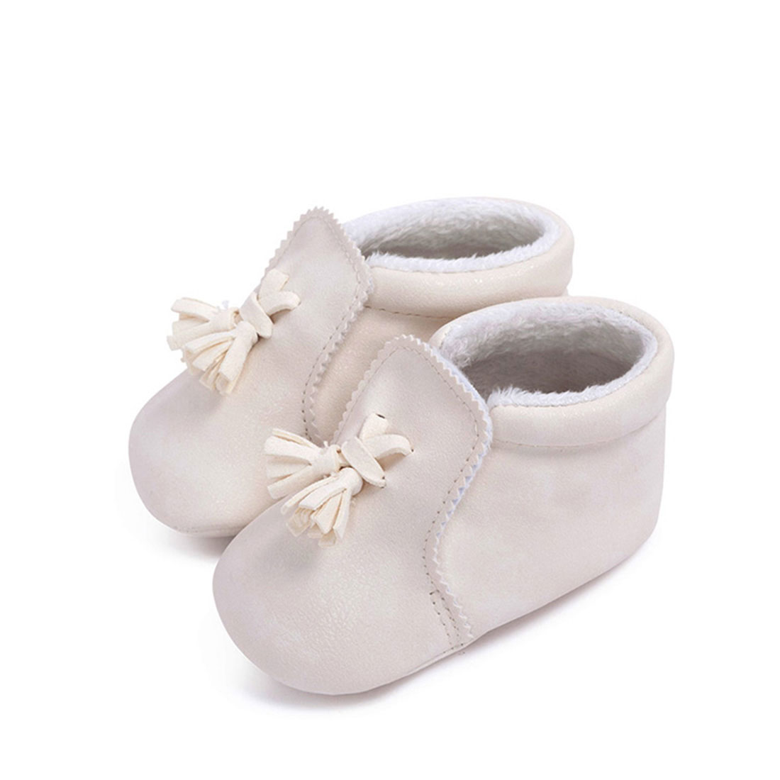 Best leather white flat round toe winter tassels cheap toddlers shoes for girls