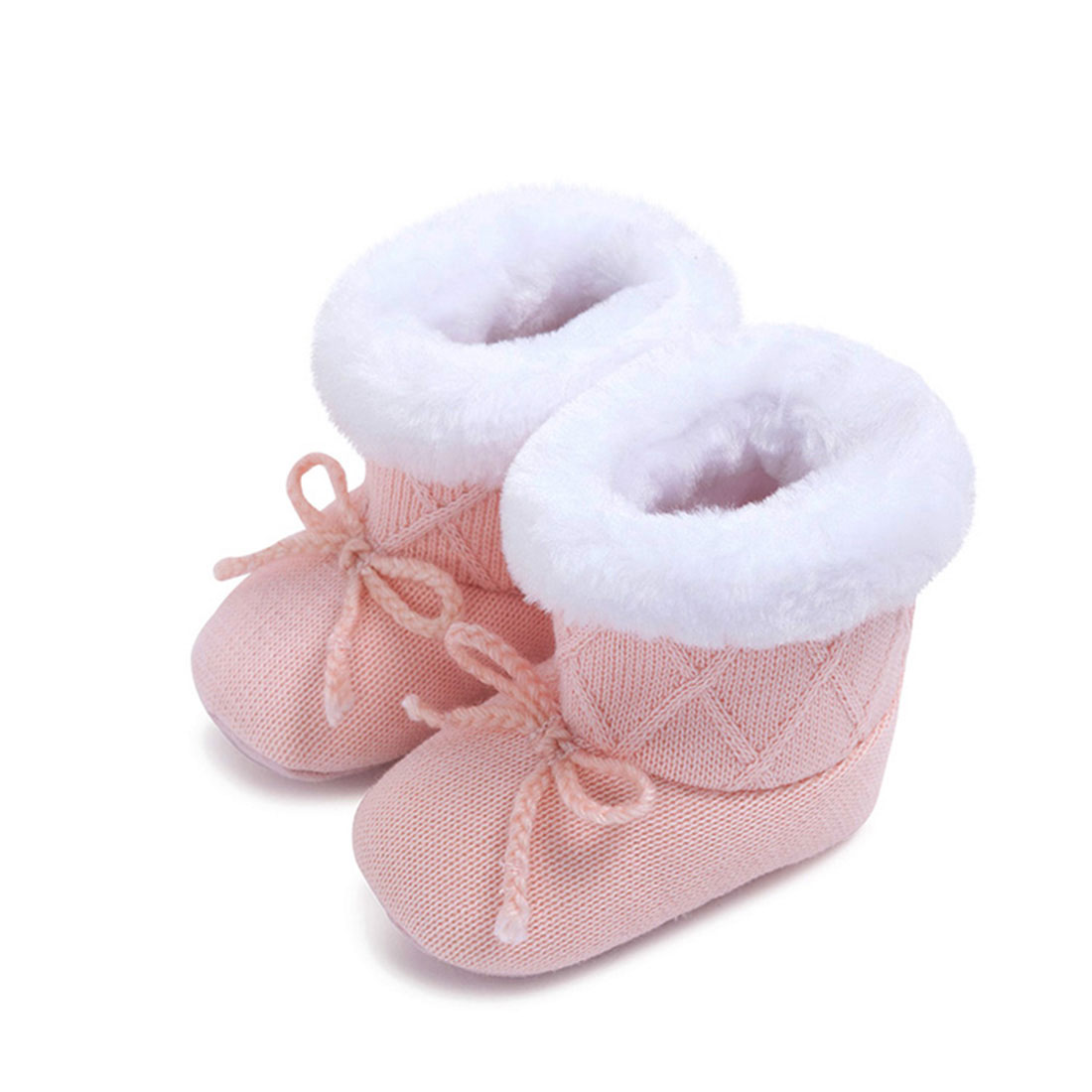 Knitting upper fur lining pink round toe comfortable winter bow best kids shoes