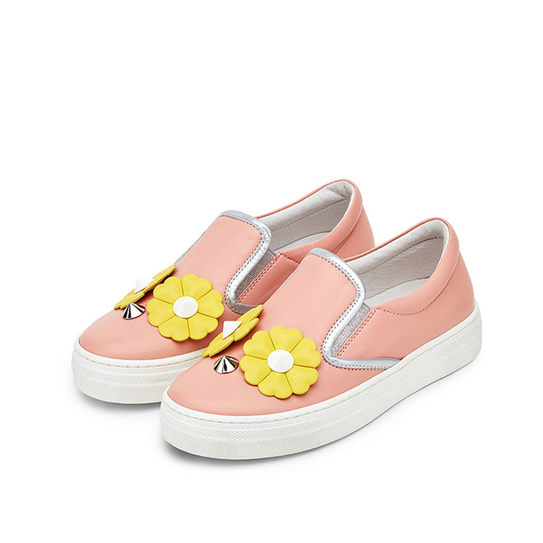 Leather upper pink flat round toe casual fashion flower walking shoes for girls