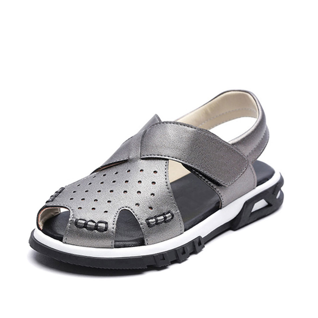 Metallic leather gray flat open toe cool 2018 summer boy kids sandals shoes