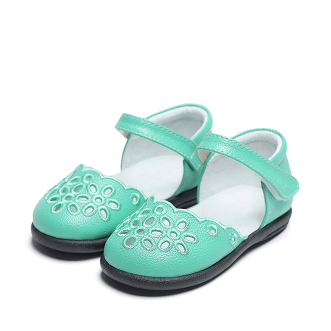 Litchi stria calf leather flat cute summer piercing kids sandals shoes for girls