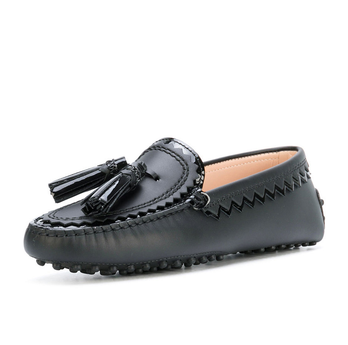 Genuine leather black comfortable tassels ladies moccasin gommino shoes YB4021