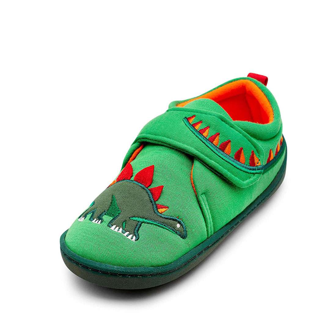 Fabric green flat fashion lovely design dinosaurs embroider toddler shoes