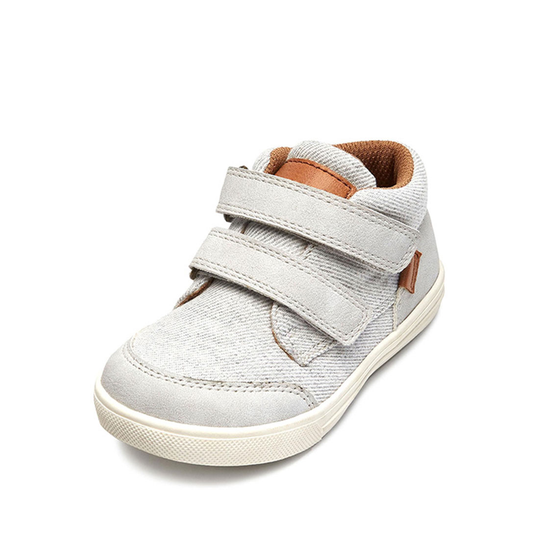 Suede leather and fabric upper gray flat round toe casual best shoes for boys