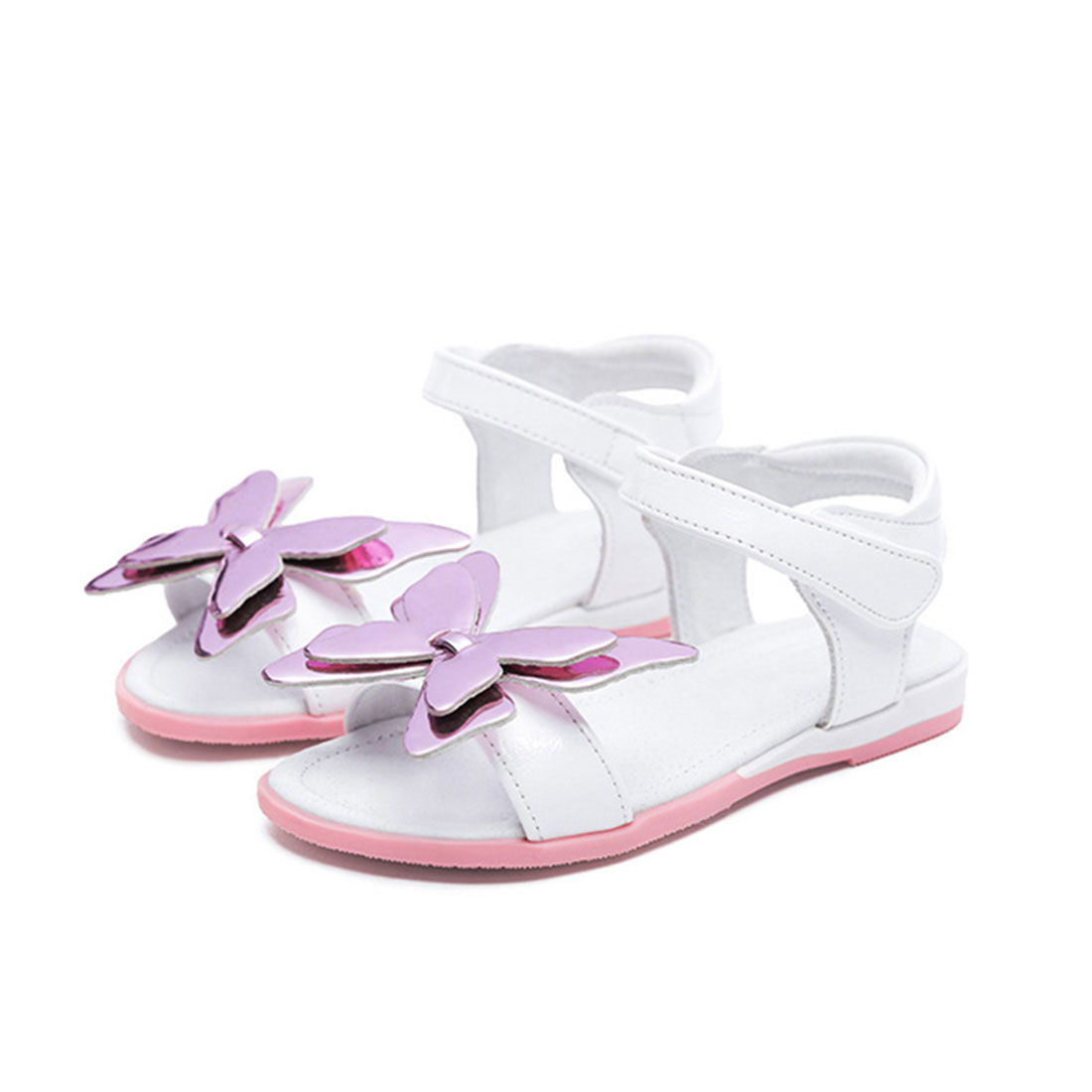 Leather white and pink flat cute summer fashion butterfly sandals kids footwear