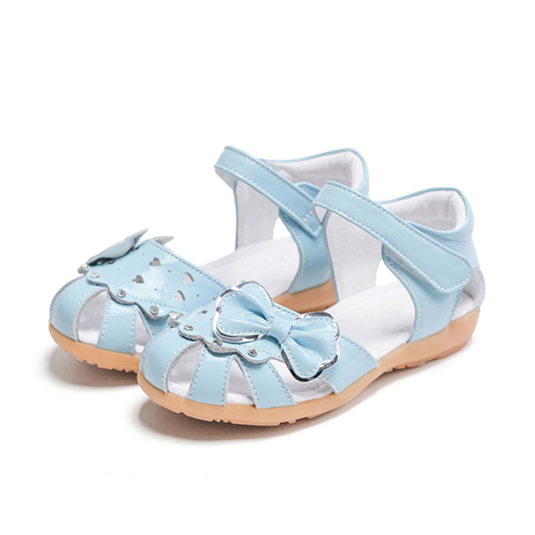 Patent leather light blue flat cute summer bow design children sandals shoes