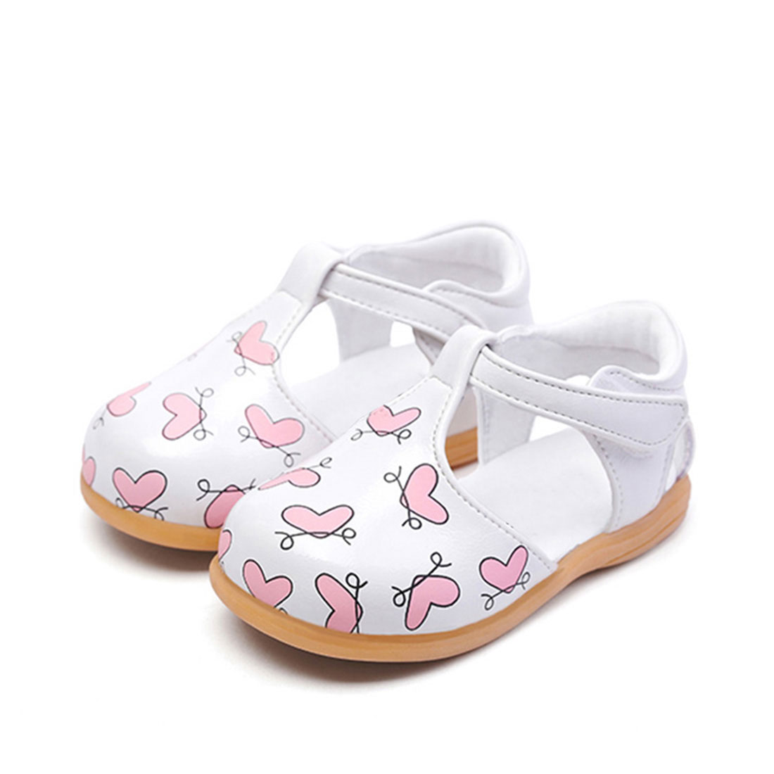 Wholesale china factory leather white flat cute summer fashion kids shoe sandals