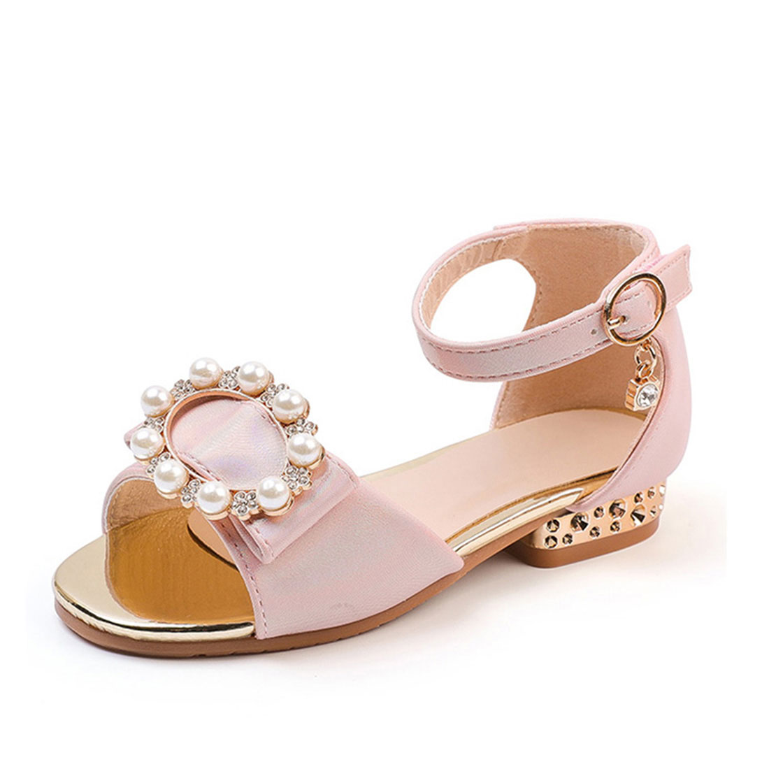 Custom genuine leather low heel luxury with pearls diamante flower kids sandals