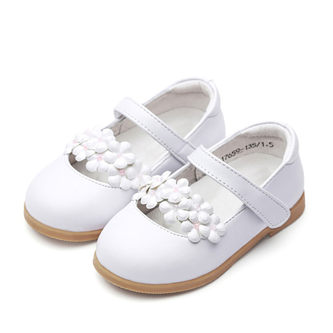 Wholesale leather white flat casual lovely style three flower kids shoes