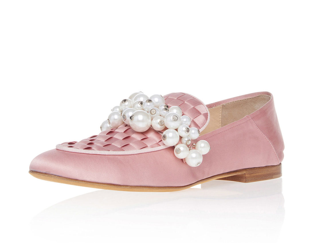Satin fabric upper flat round toe elegant with pearls ladies casual shoes YB4034