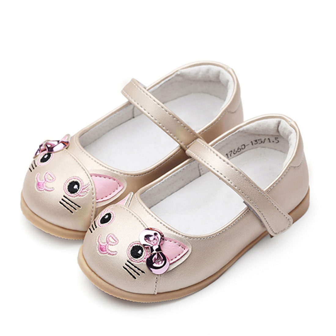 Leather bone beige flat casual lovely style little cat decoration kids pump shoe
