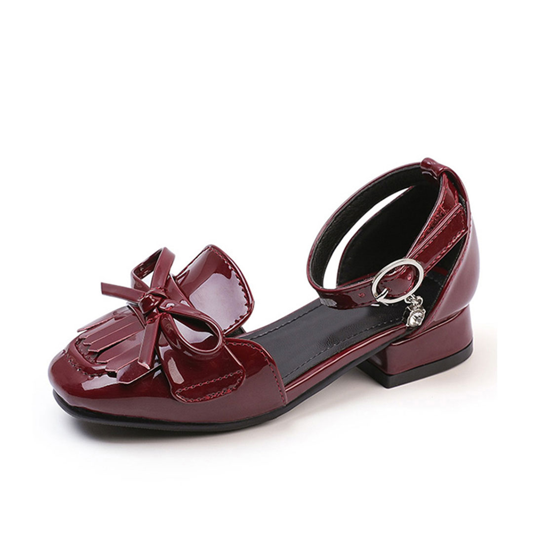 Patent leather dark red heels summer dress bow and tassels kids dress shoes