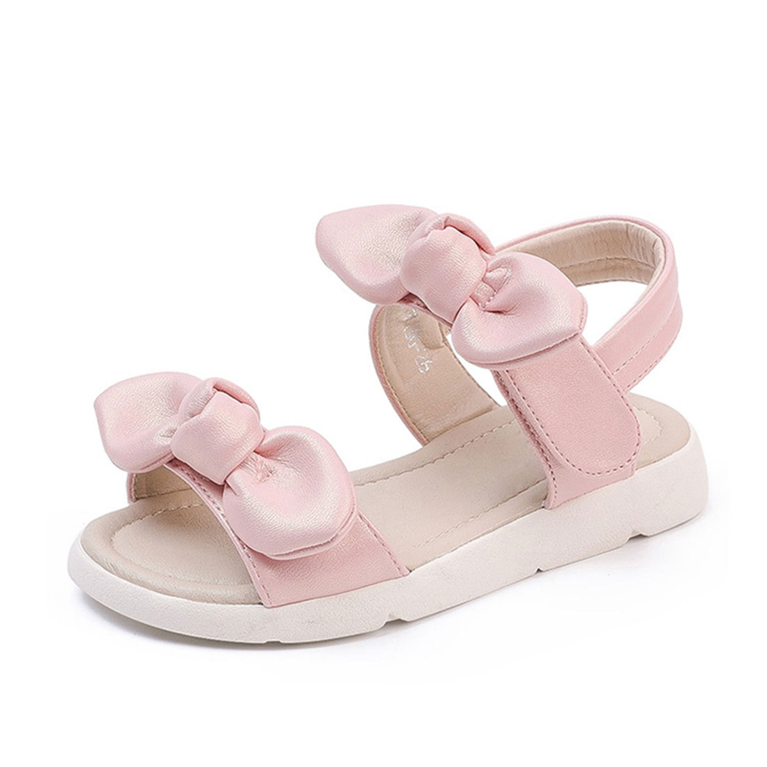Genuine leather pink flat open toe summer fashion bow girls sandals shoes