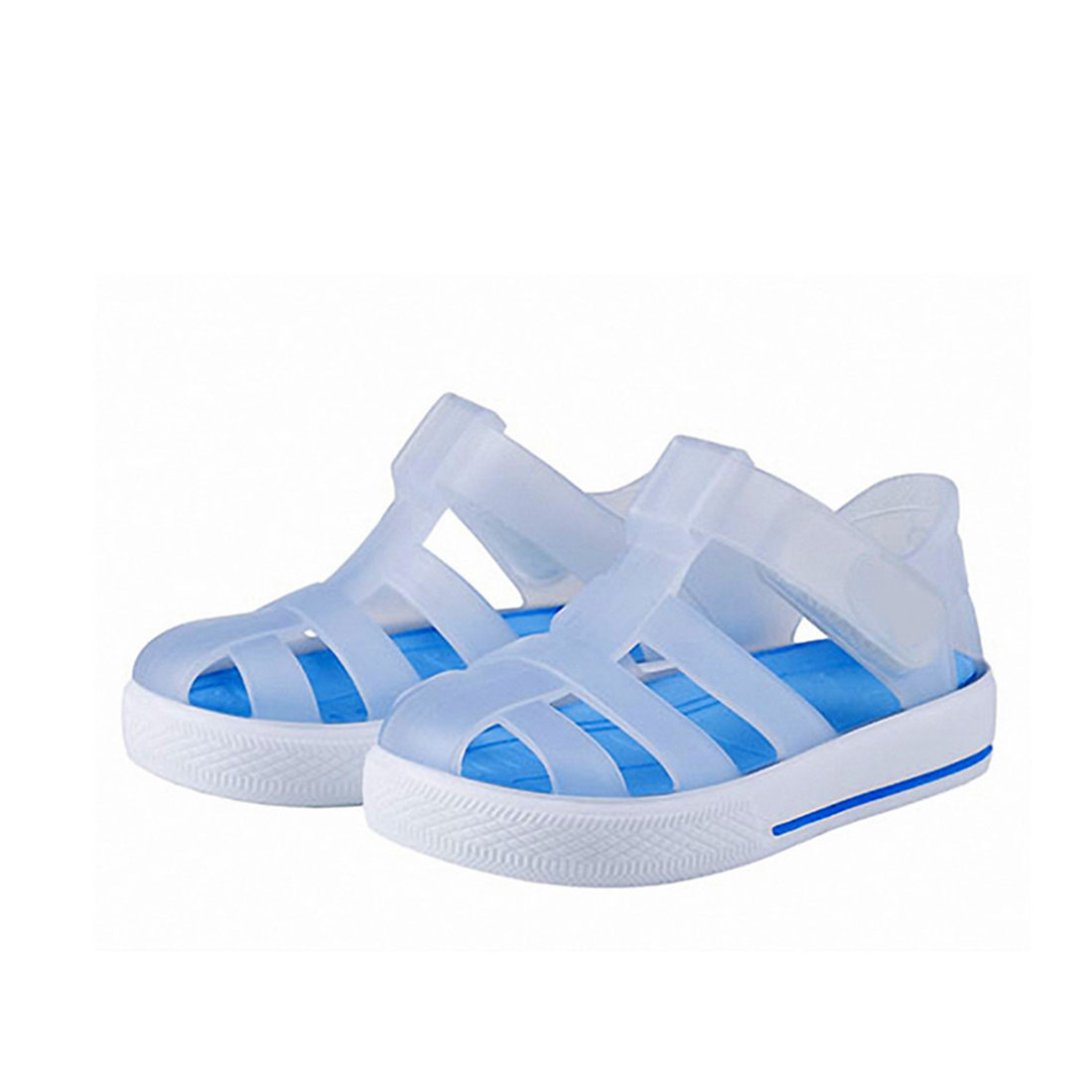 Plastic upper white and blue flat cover toe casual ventilate children's sandals