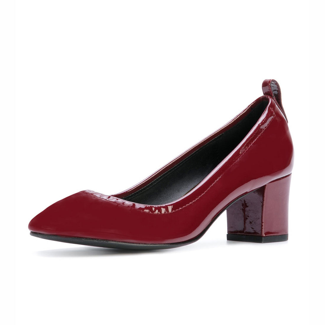 Patent leather dark red high heel plain office ladies pump shoes outlet YB4038