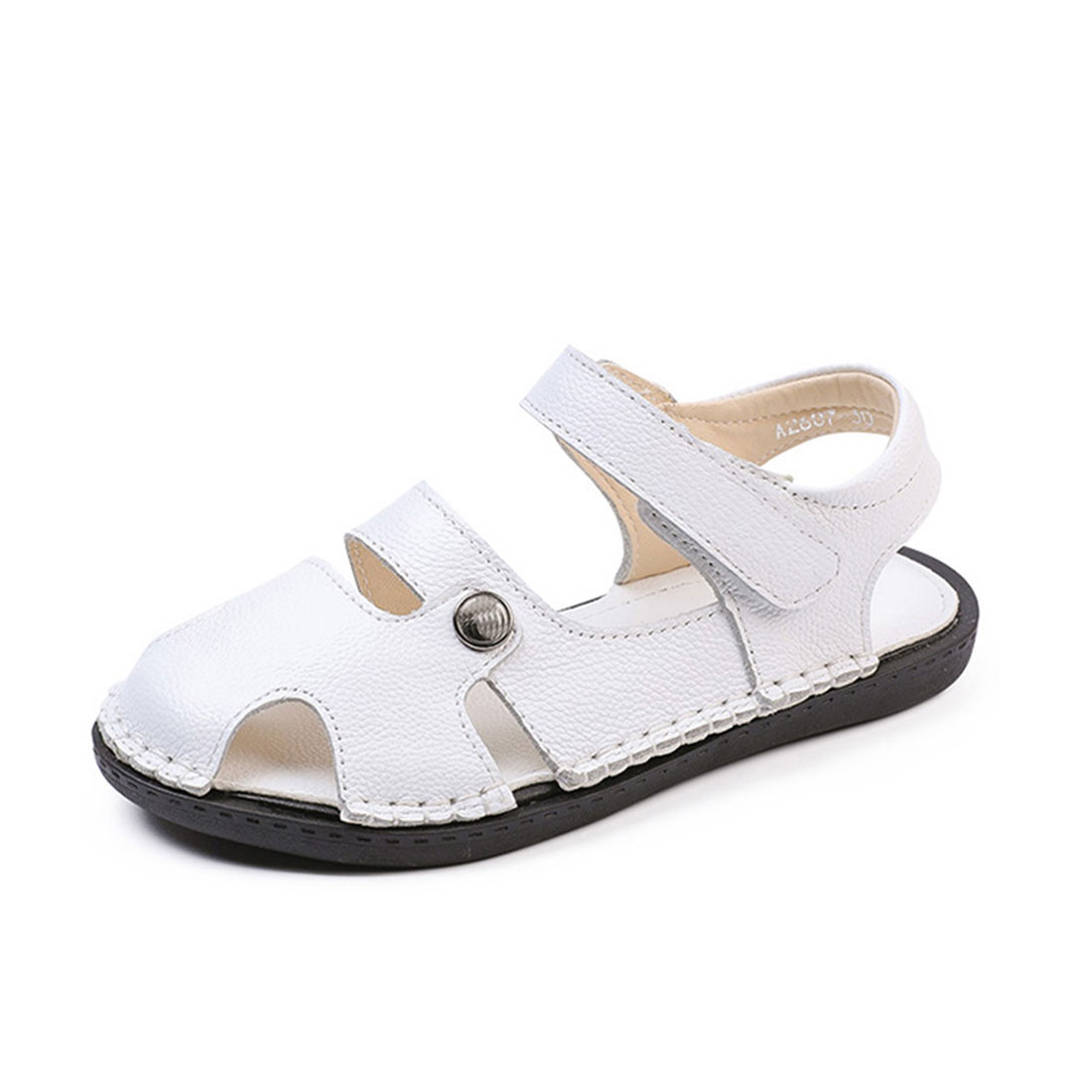 Best leather white flat open toe summer causal fashion kids summer sandals
