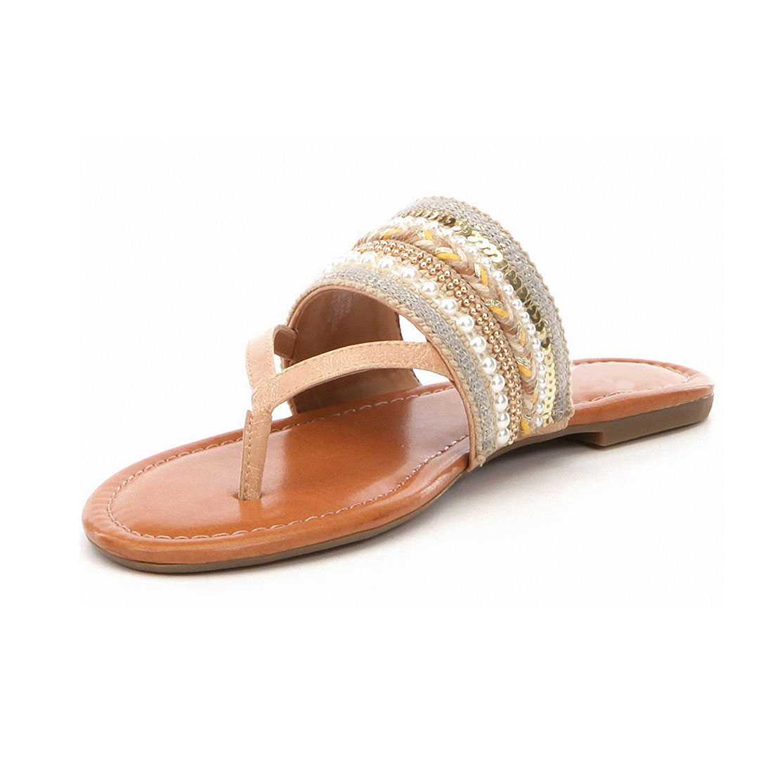 Hot sell comfortable woven upper leather flat slipper lady sandals YB3062