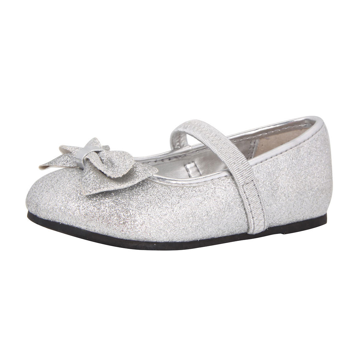 silver glitter upper with bow girl dress shoes flat shoes YH0005