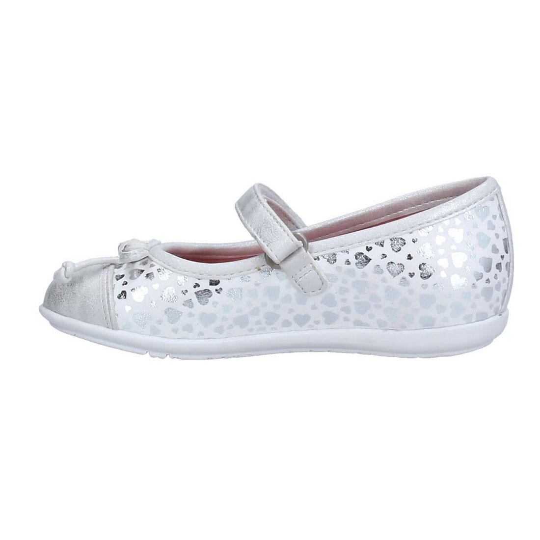 Silver glitter upper with bow girl dress shoes flat shoesYH0009