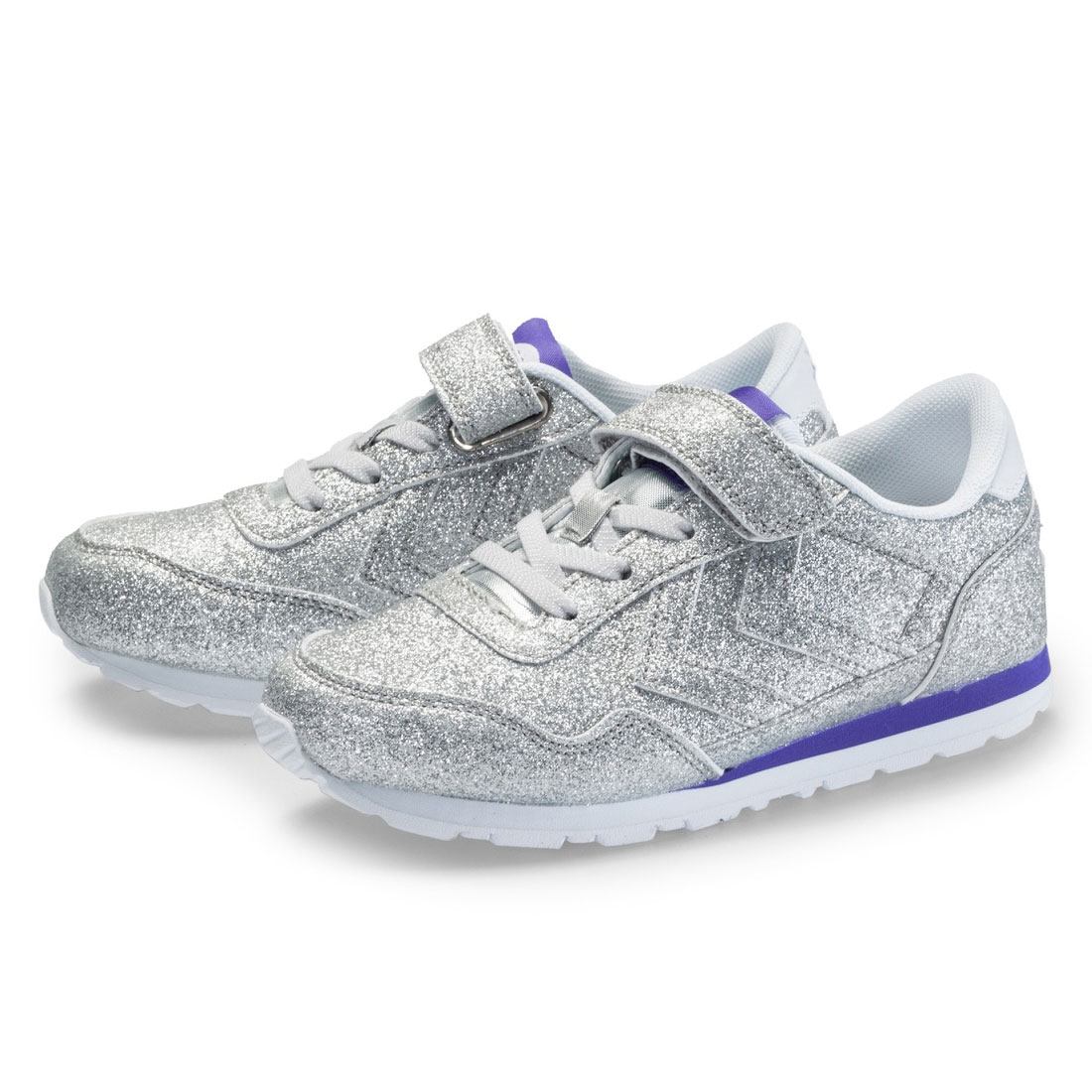 Silver glitter upper casual kid sport shoes