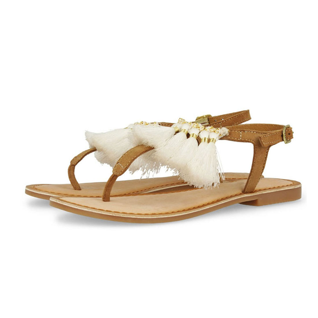 New tassels leather faux fur flat sandal for women and ladies YB9532