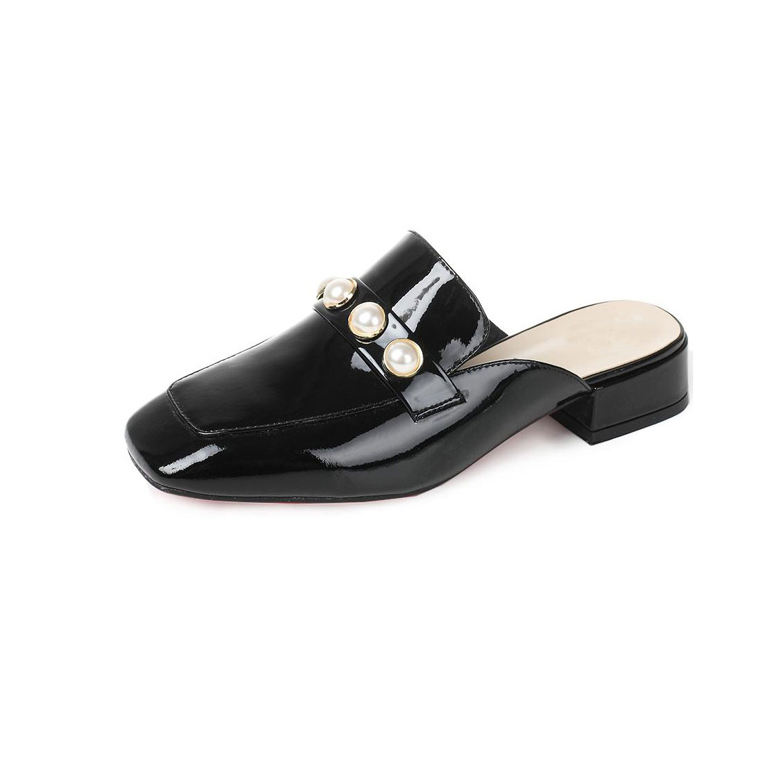 Patent leather upper with pearl lady slipper women casual flat shoes YH1169