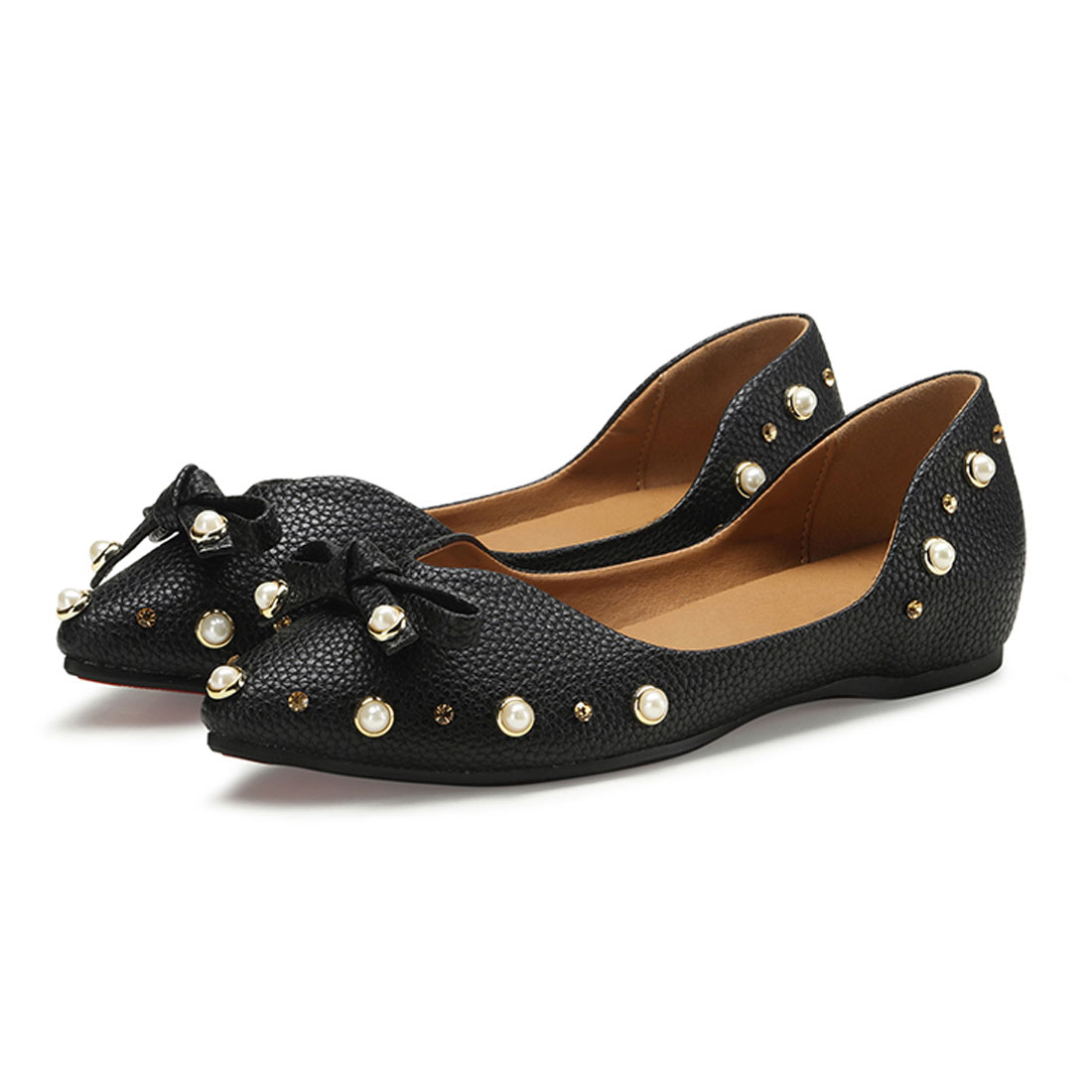 2018 Women Pointed Leather With Rivets Diamond Casual Dress Flat Shoes YH1182