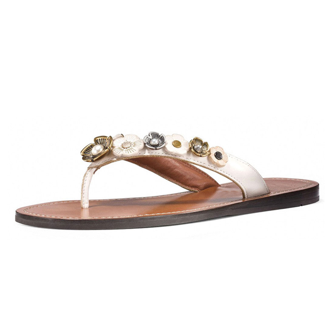 factory whosales flipflop girls leather ankle strap flat thong sandal YH1221