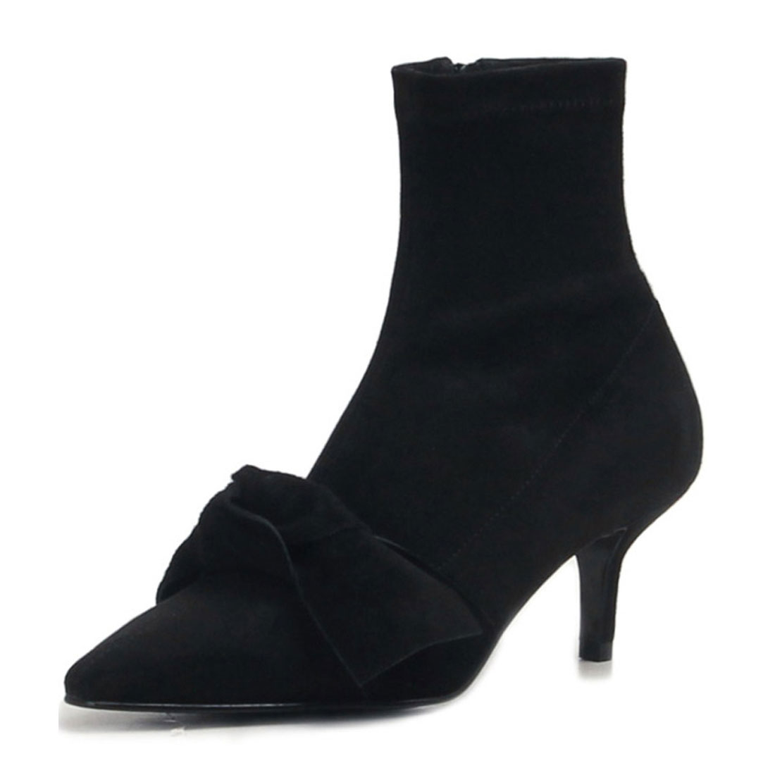 fashion pointed with bownot black suede leather ankle boot women BT1900